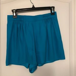 Teal silk shorts from Anthropologie